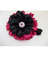 BABY GIRL TO TODDLER HANDMADE HOT PINK AND BLACK SATIN FLOWER HEADBAND - $9.00