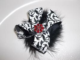 Baby Girl To Toddler Handmade Black And White Damask Bow Flower Headband - $12.00