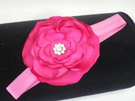Baby Girl Skinny Pink Headband With A Handmade Satin Hot Pink  Flower - $9.00