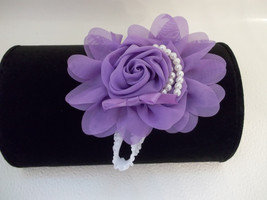 Newborn  Baby Girl To Adult White Headband With Lavender Chiffon Flower Bow - $6.50