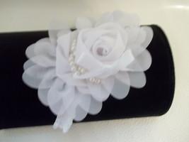 Newborn Baby Girl Beautiful White Headband With A White Chiffon Flower Bow - $6.50