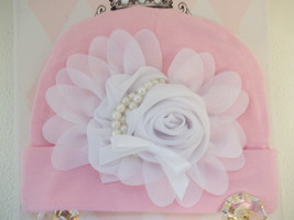 NEWBORN BABY GIRL PINK HAT WITH WHITE OR PINK CHIFFON FLOWER - $10.00