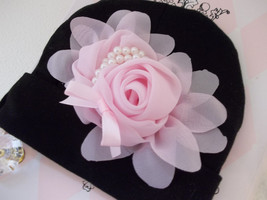 NEWBORN BABY GIRL BLACK BEANIE WITH YOUR CHOICE OF CHIFFON FLOWER BOW - $10.00