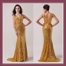 Golden Sequined Lace Up Back Long Train Mermaid Evening Prom Gown