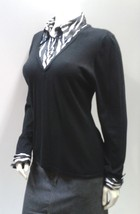 Zebra Print Top, Long Sleeve Black and White Knit V Neck Pullover Sweate... - $12.99