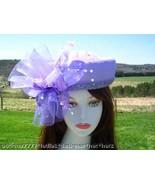 LADIES PURPLE LAVENDER DESIGNER WEDDING HAT CHURCH HATS - $299.98