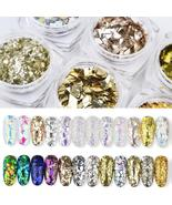 Holographic Nail Glitter Sequins Set 3D Irregular Broken Glass Nail Art ... - $3.89