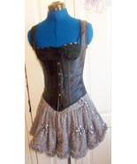 Stunning SteamPunk silver rara skirt,hand- embellished and embroidered  ... - $30.75