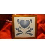 CORELLE COORDINATES BLUE HEARTS CERAMIC TRIVET WOODEN FRAME FREE SHIP USA - $28.04