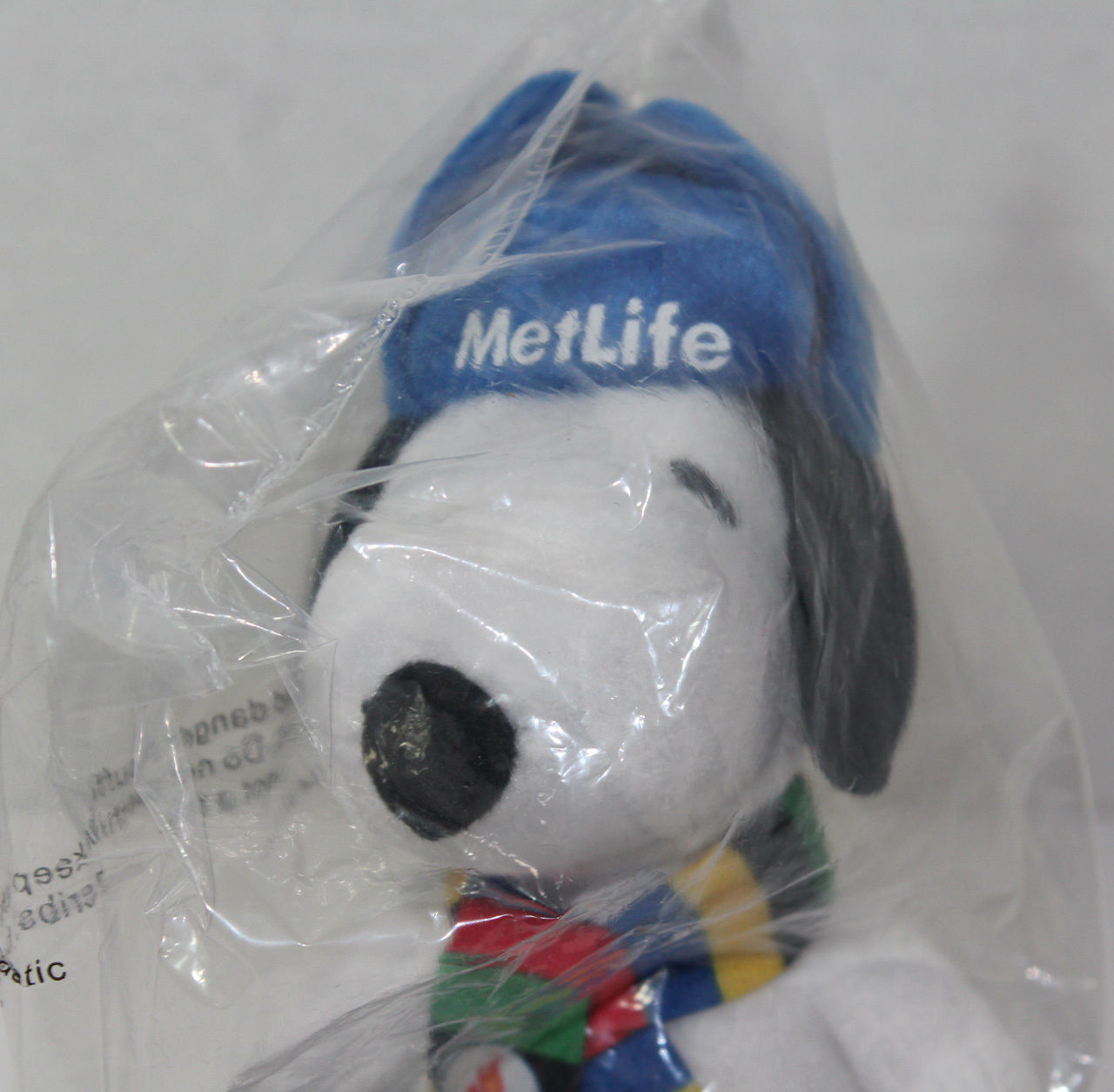 2014 Peanuts METLIFE SNOOPY w/ SCARF HAT AND BOOTS Stuffed Plush Toy NEW IN BAG