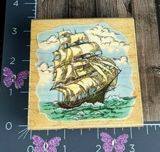 Stampendous Rubber Stamp Christopher Columbus Sailboat Ship 1996 Ocean #V29 - $12.38
