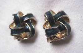 "Vintage  Clip On Earrings Gold Tone & Dark Blue Enamel  3/4"" Loose Knot Design - $7.05"