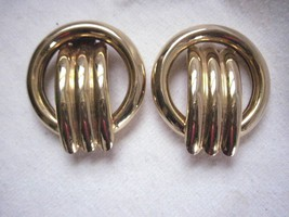 "Vintage  Clip On  2"" Long Earrings Gold Tone Metalic Round with Tube Design - $7.83"