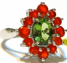 GREEN APATITE OVAL SOLITAIRE & RED FIRE OPAL RND COCKTAIL RING, SIZE 7, 2.30(TCW - $99.99
