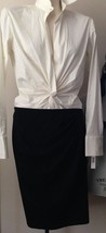 $950 DONNA KARAN black label collection wool black spandex skirt L elastic - $239.20