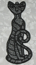 Beautiful Black Kitty Bookmark,  Lace, Machine Embroidery - $3.50