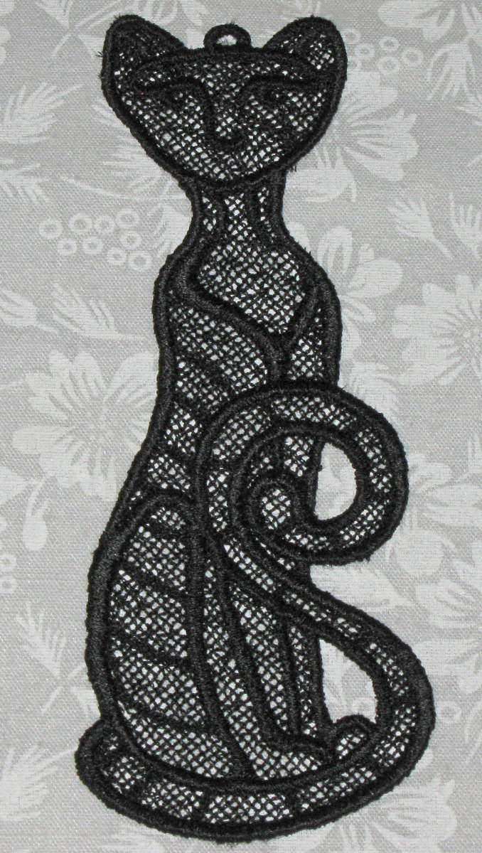 Beautiful Black Kitty Bookmark,  Lace, Machine Embroidery