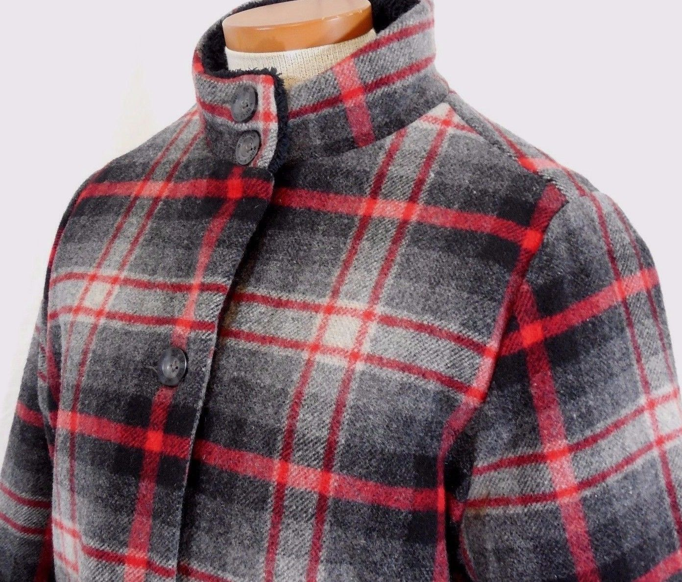 WOOLRICH Womens S/SMALL MAPLE RUN Button UP WOOL Quilt Lined BLACK PLAID Jacket image 5