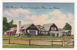 The Meadow's Restaurant Framingham Massachusetts linen postcard - $5.94