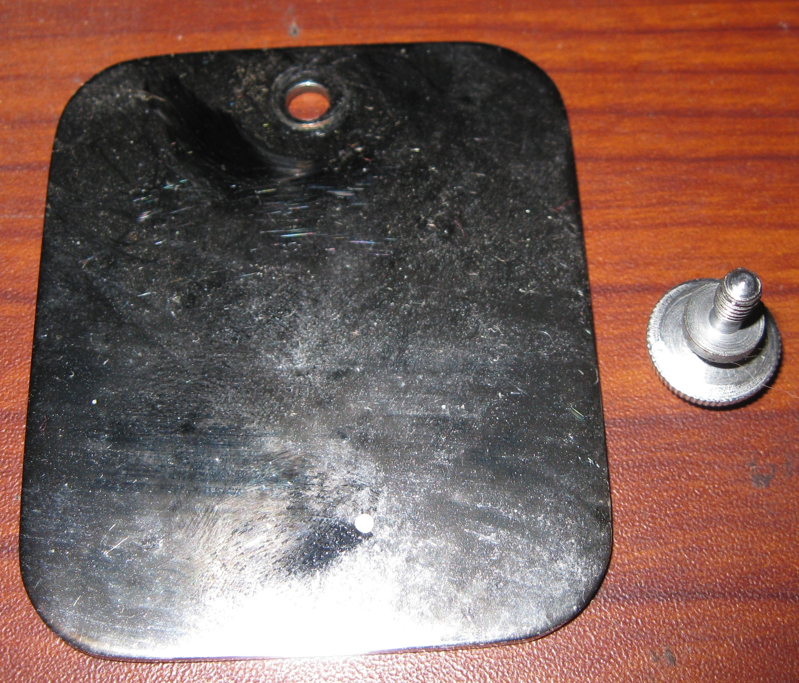 Chromed Japan Deluxe Square Rear Arm Inspection Plate w/Screw - $8.00