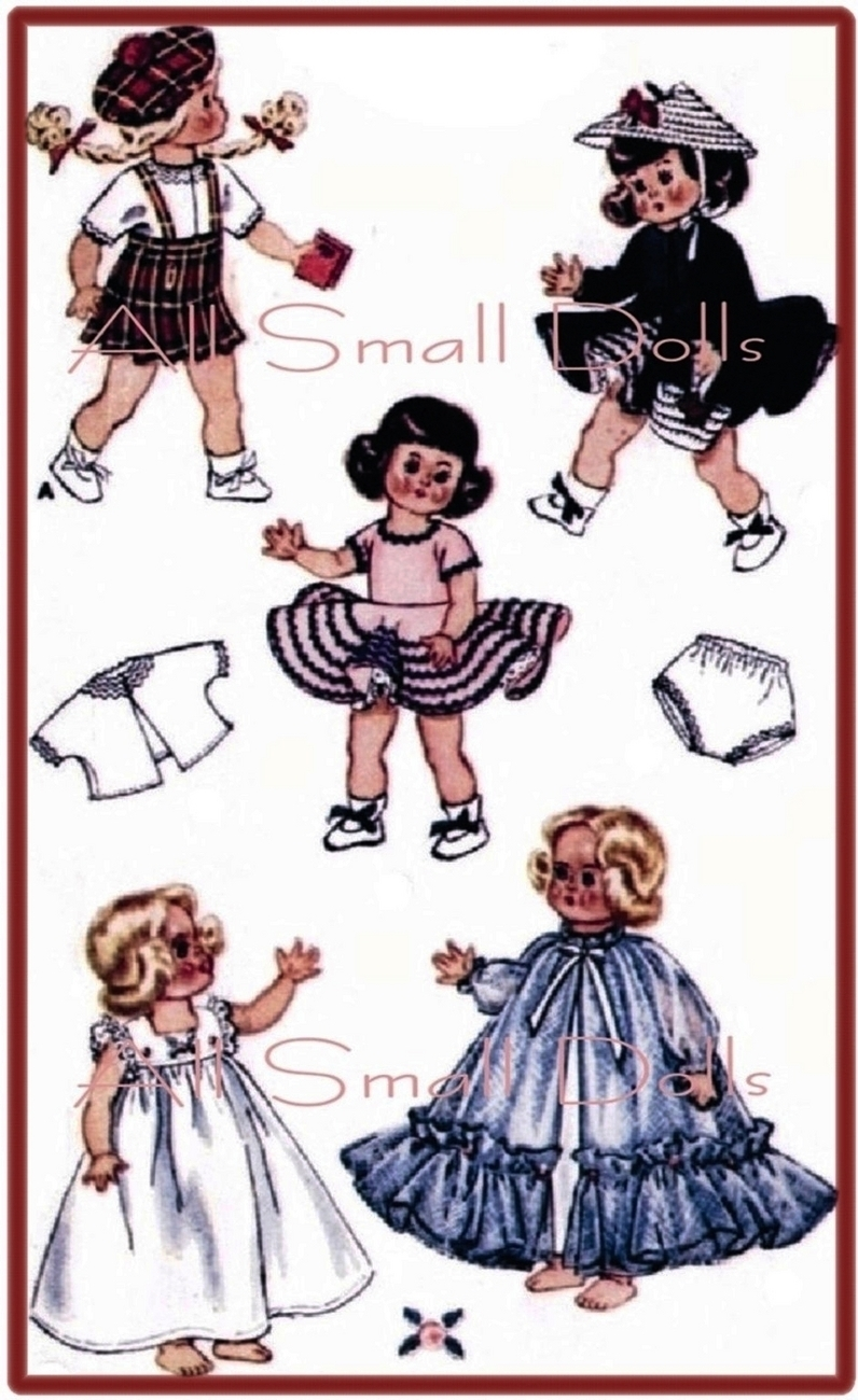 Vintage Doll Clothing Pattern for 8