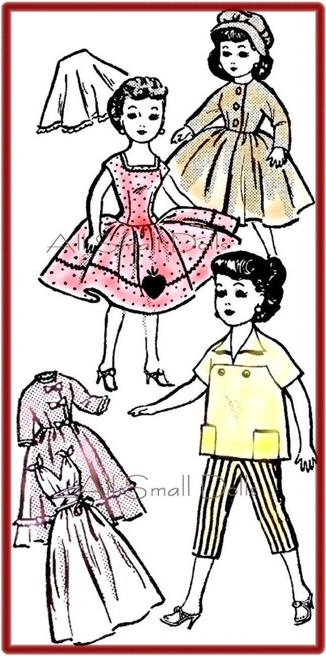 Vintage Doll Clothing Pattern for 10 1/2