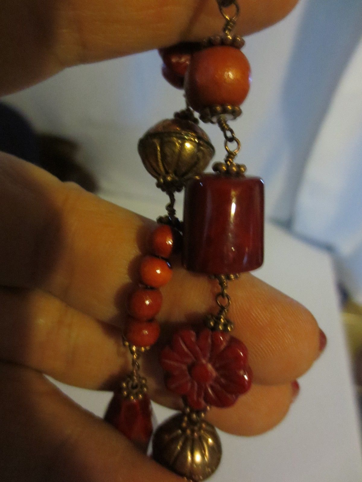 Cookie Lee Cinnabar Bloom  Necklace RARE