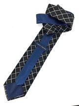 New TOMMY HILFIGER TIE Black & Navy Silk Men's Neck Tie DESIGNER - $8.37