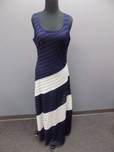 ECI NEW YORK NWT Blue White Polyester Blend Casual Lined Maxi Dress Size... - $29.69