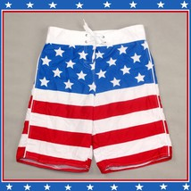 Men's All American USA Flag Swim Beach Board Trunks in Red White n Blue or Black image 2