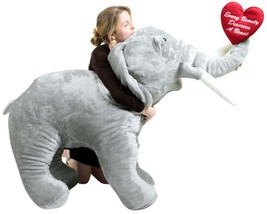 Giant Stuffed Love Elephant 48 Inch Holds Embroidered Heart Every Beauty Deserve - $327.11