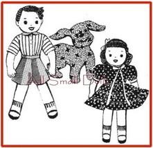 "Vintage Cloth Doll Pattern for 11 1/2"" Boy, Girl & Dog - $5.99"