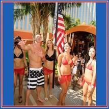 Men's All American USA Flag Swim Beach Board Trunks in Red White n Blue or Black image 4