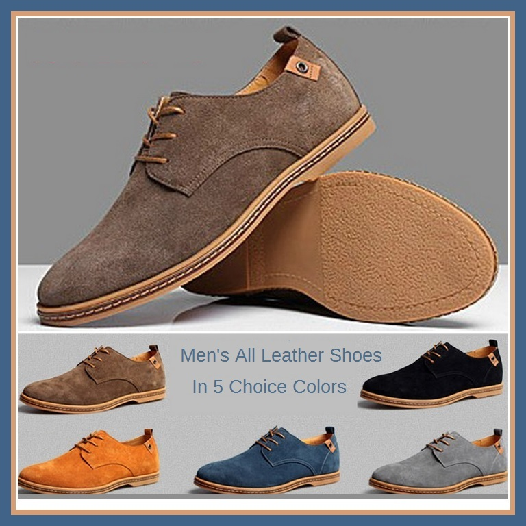 Men's Genuine Suede Solid Leather Lace Up Flat Sole Waterproof Oxford Shoes