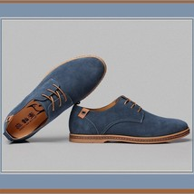 Men's Genuine Suede Solid Leather Lace Up Flat Sole Waterproof Oxford Shoes image 2