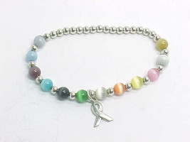 Colorful CAT'S EYE Breast Cancer Awareness BRACELET in STERLING Silver  ... - $38.00