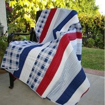 NAUTICAL STRIPE  QUILTED AFGHAN THROW COASTAL  RED WHITE AND BLUE - $69.99