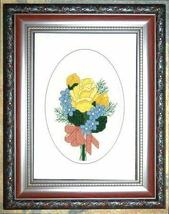 Friendship Flowers floral cross stitch card chart Linda Jeanne Jenkins - $5.40