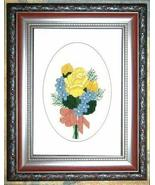 Friendship Flowers floral cross stitch card cha... - $5.40