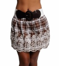 Brown White Embroidered Plaid Skirt With Attached Belt New - $12.86