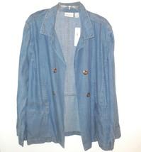 Chico's new Tencel Blazer Jacket sz 4 XXL Indigo Blue Denim NWT $99 w Linen - $33.30