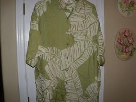 Mens Size L Moda Campia Moda Palm Leafs Hawaiian Print Rayon Shirt - $12.86