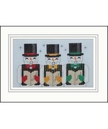 Three Frosty Tenors snowman holiday cross stitch card chart Linda Jeanne... - $5.40