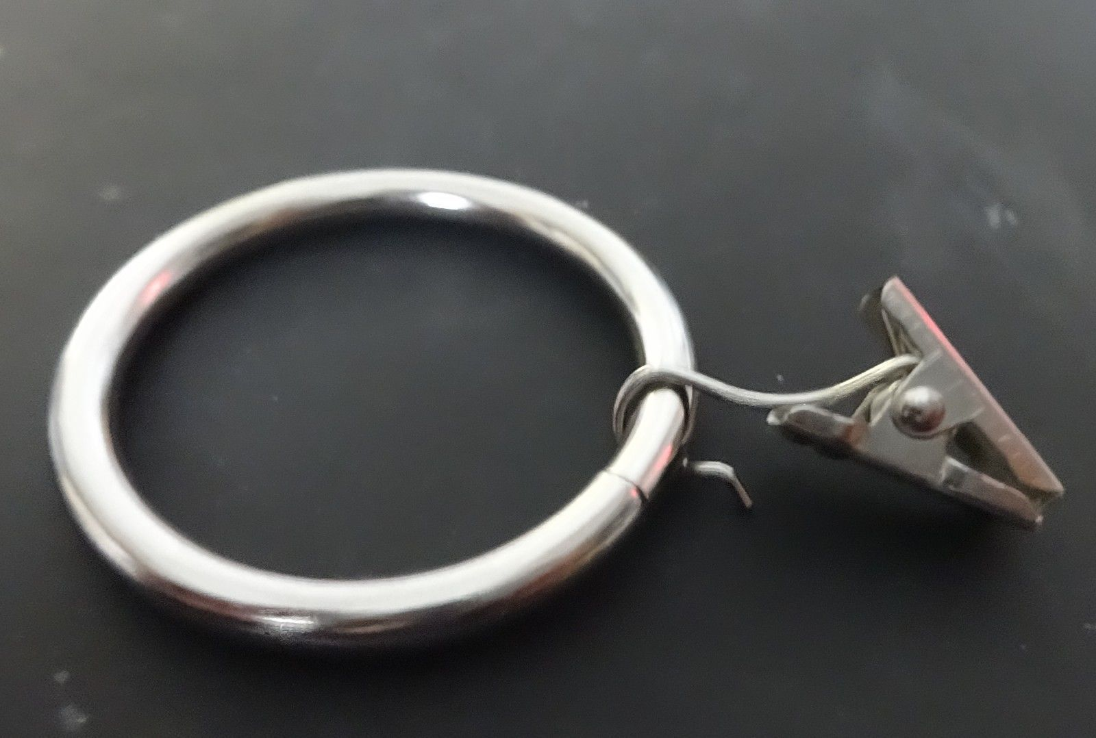 10 QTY: Premium Polished Nickel Plated Steel Drapery Ring w/ clips -Extra Thick-