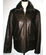 New Mens M Wilsons Leather Jacket Coat Dark Brown Removable Fur Collar L... - $320.00