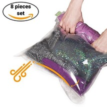 8 Travel Space Saver Bags - No Vacuum or Pump Needed - for Clothes - Reusable -
