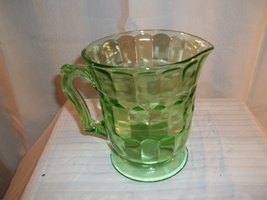 BLOCK OPTIC VASELINE PITCHER BY ANCHOR HOCKING - $45.00