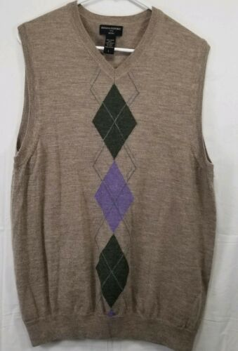 Banana Republic Men's Large Sweater Vest Merino Wool Tan and Purple/Green Argyle image 1