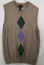 Banana Republic Men's Large Sweater Vest Merino Wool Tan and Purple/Gree... - $18.49