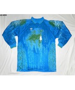 Adidas Size XL Men's Mottled Blue Polyester Soccar Shirt Made in USA - $16.99